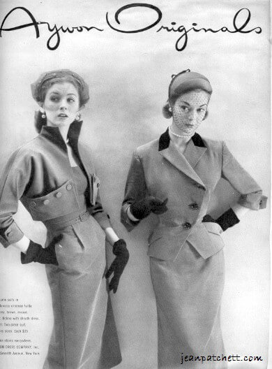 JEAN PATCHETT & SUZY PARKER VOGUE AYWON ORIGINALS AD AUGUST 1951